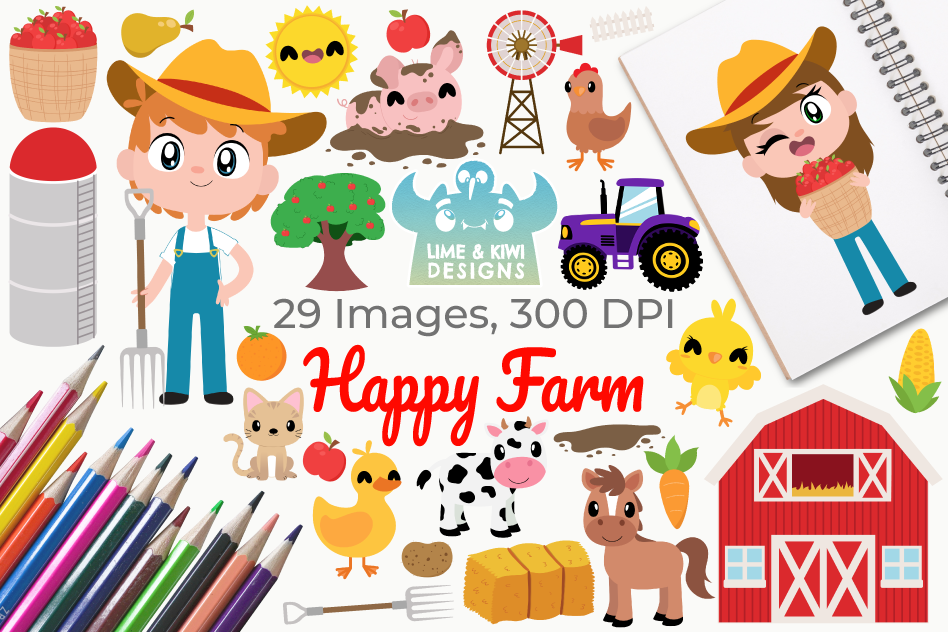 Happy Farm Clipart, Instant Download Vector Art example image 1