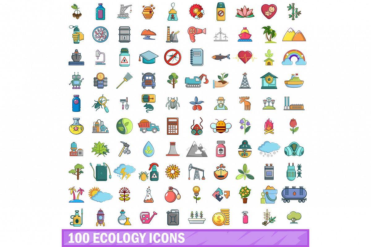 100 ecology icons set, cartoon style example image 1