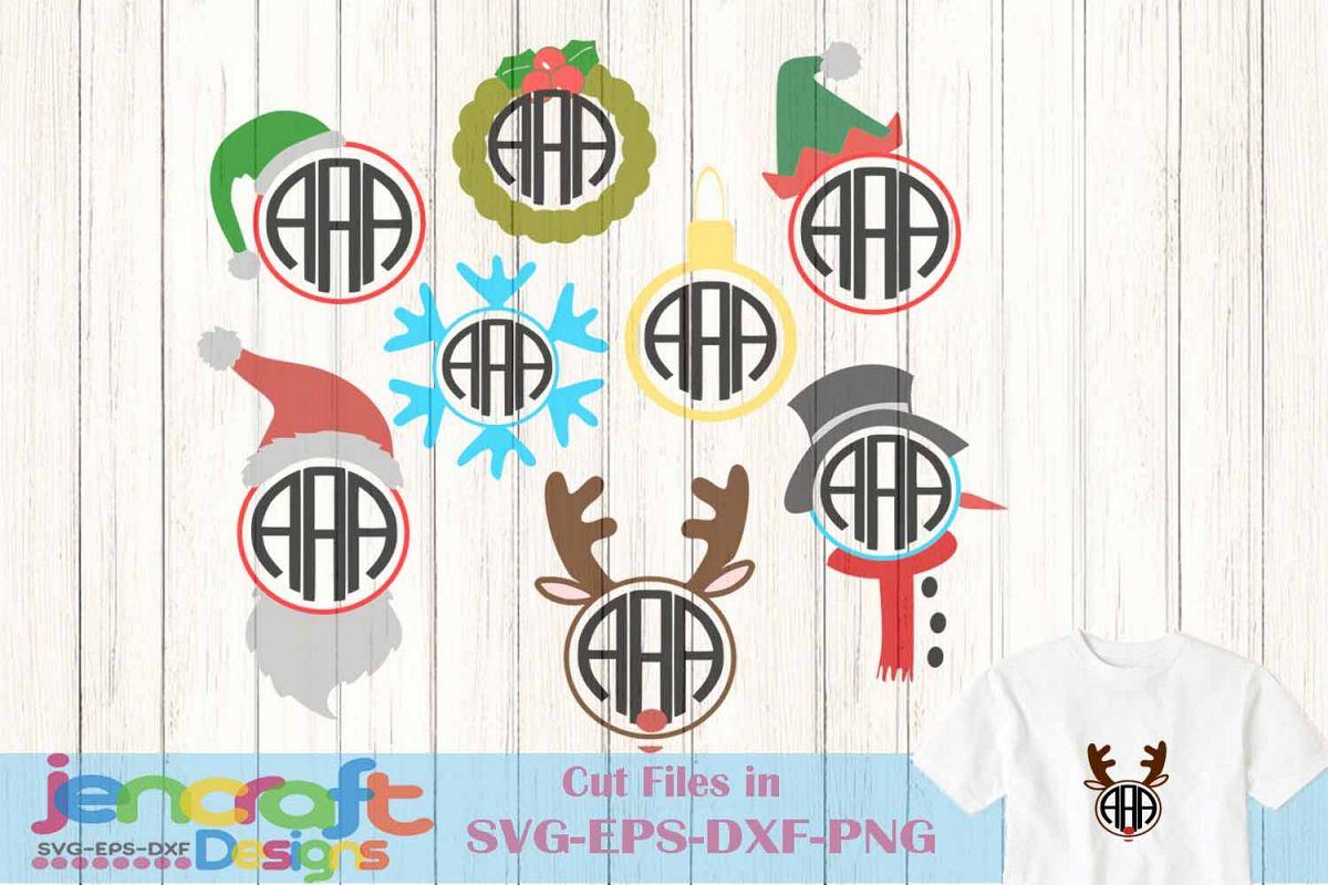 Christmas Monogram frame Bundle Snowman | Design Bundles
