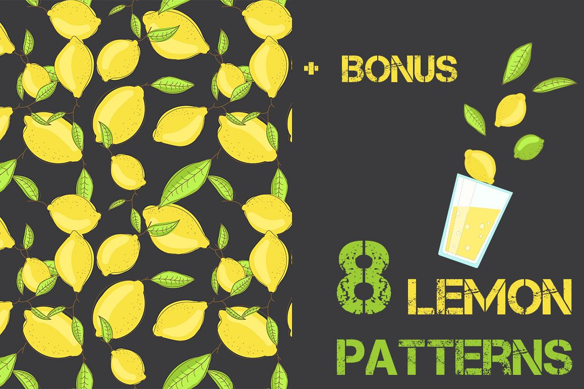 Lemon citrus pattern - set of 8 example image 1