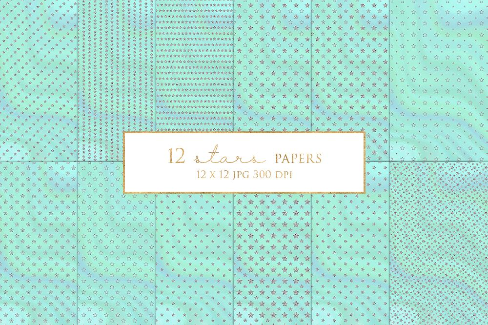 12 Silver Stars Digital Paper Pack example image 1