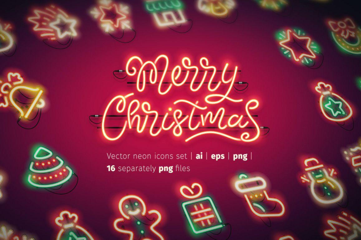 Christmas Colorful Neon Icons example image 1