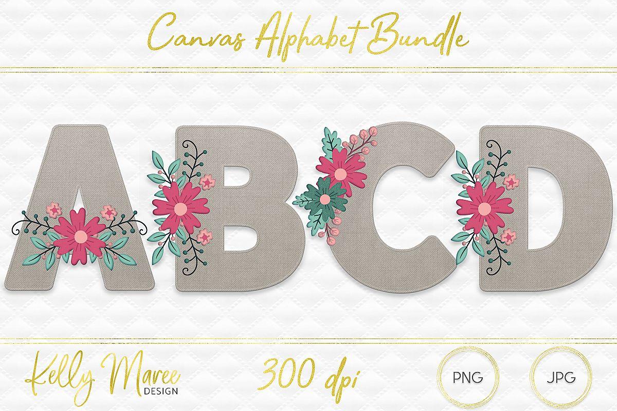 Canvas & Floral Alphabet Graphic Bundle example image 1