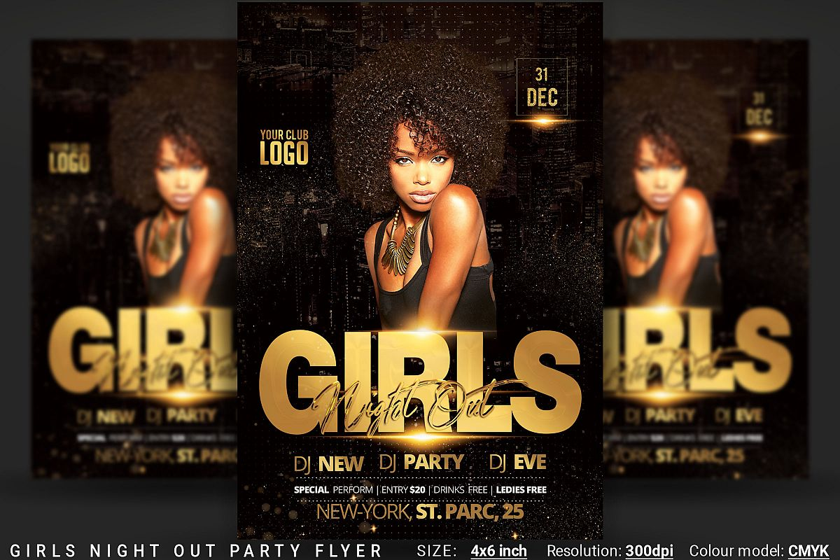 Girls Night Out Party Flyer example image 1