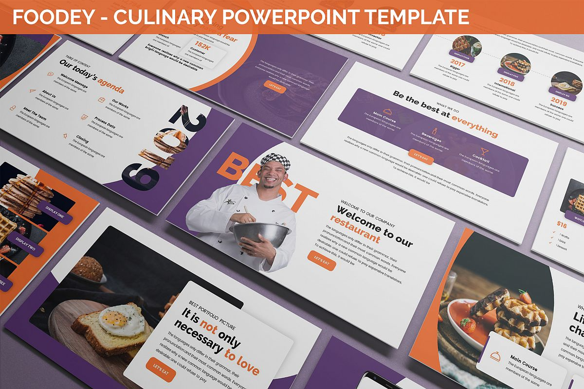 Foodey - Culinary Powerpoint Template example image 1