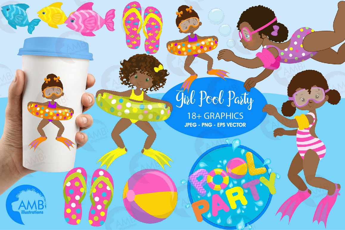 Pool party Mega clipart, graphics pack AMB-1998 example image 1