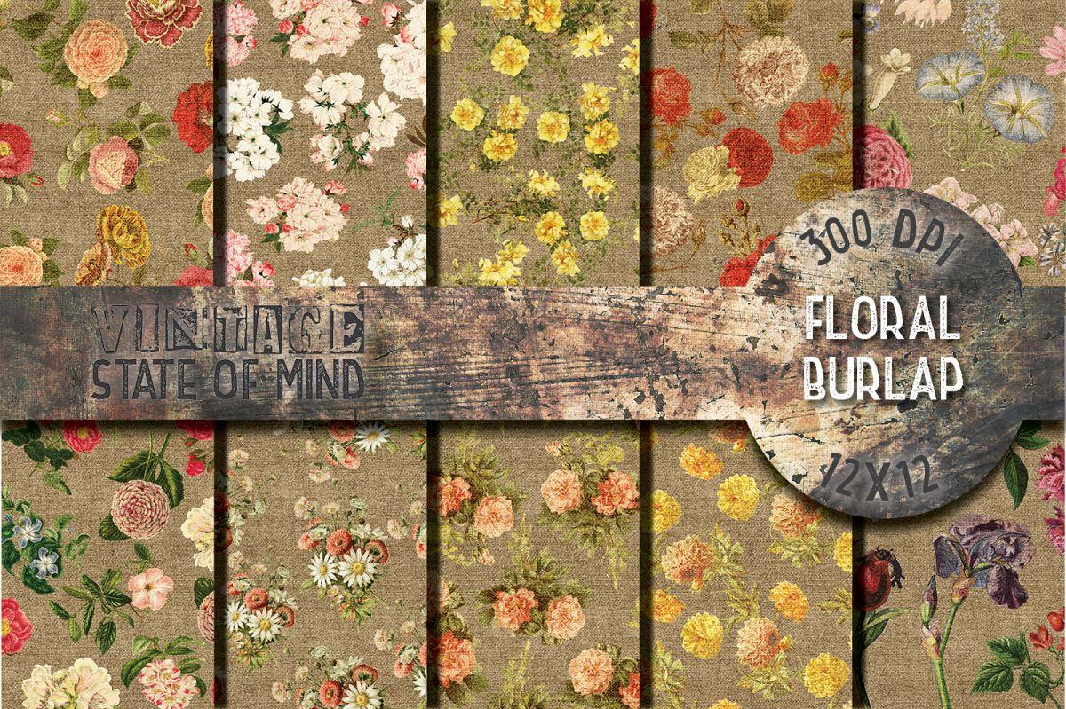 Floral Burlap Digital Papers example image 1