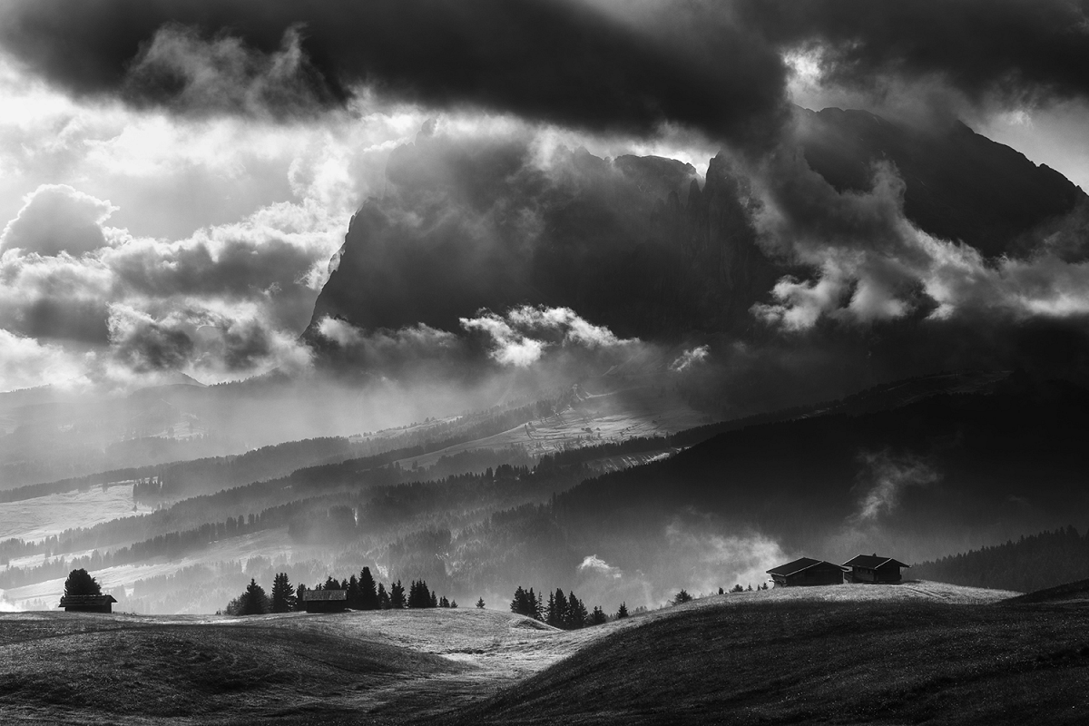 Black and white Seiser Alm on a dramatic day example image 1