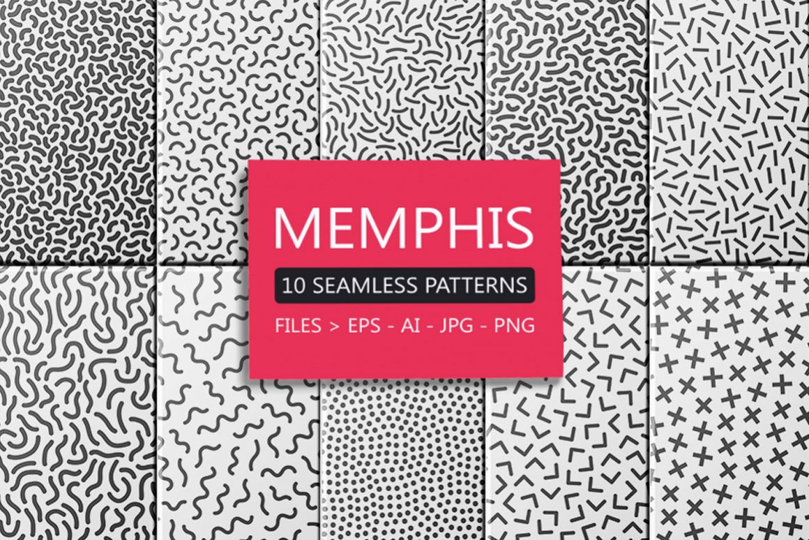 Memphis seamless patterns set - b&w. example image 1