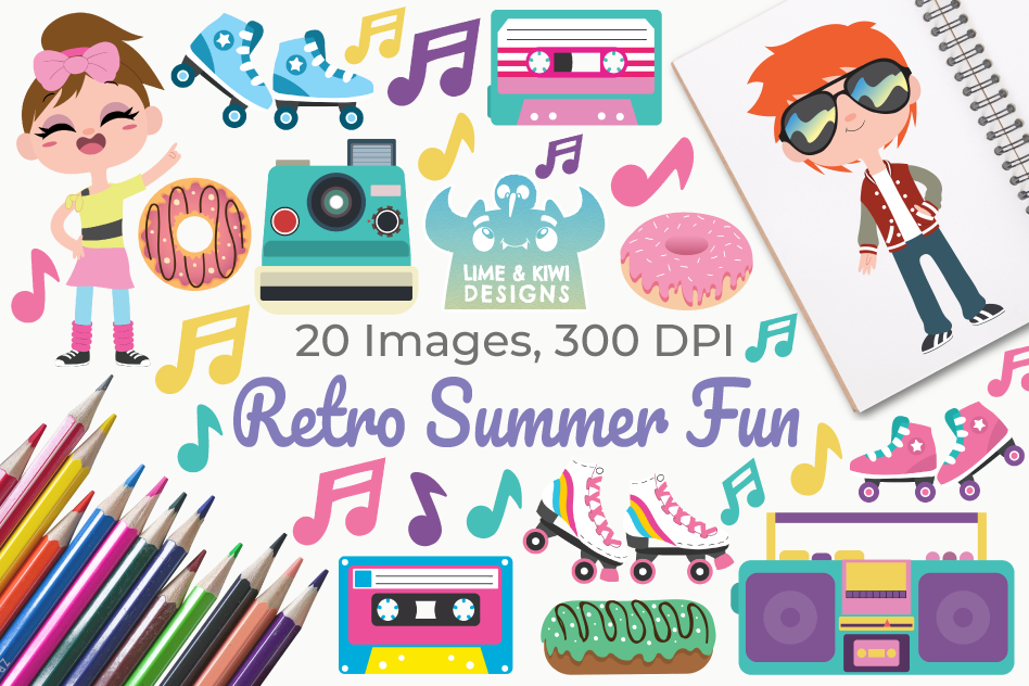 Retro Summer Fun Clipart, Instant Download Vector Art example image 1