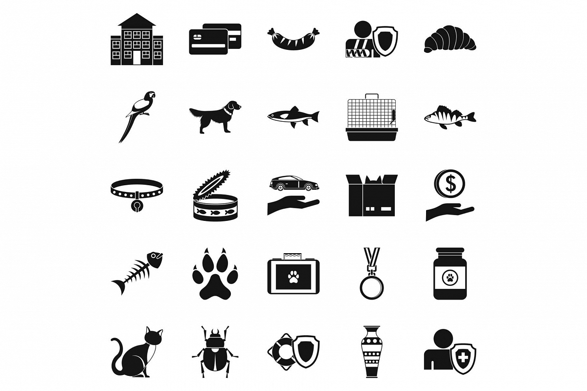 Kitten icons set, simple style example image 1