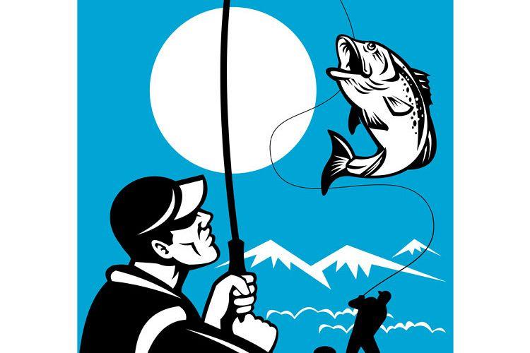 Largemouth Bass Fish Fly Fisherman example image 1
