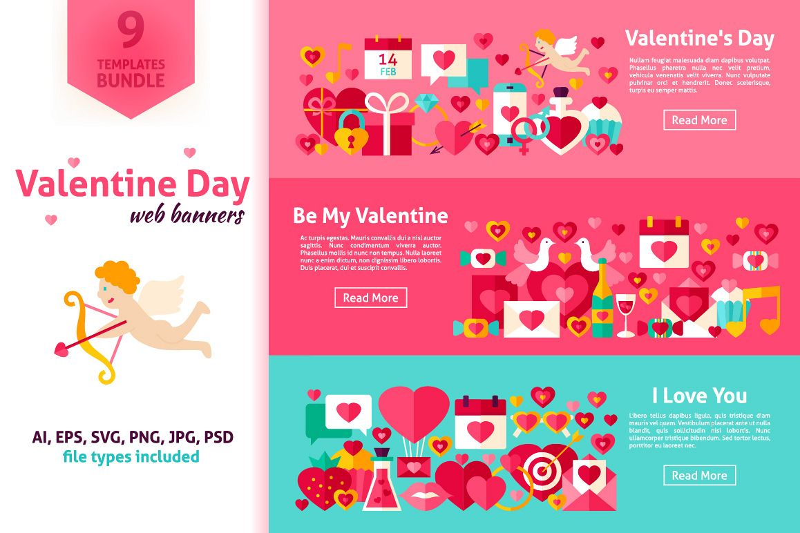 Valentine's Day Flat Banners example image 1
