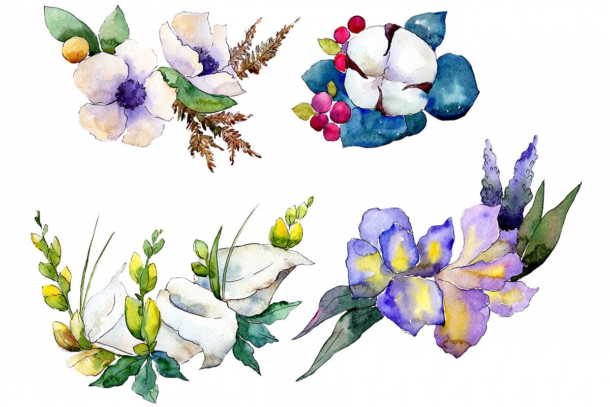 Bouquet flower composition PNG watercolor set example image 1