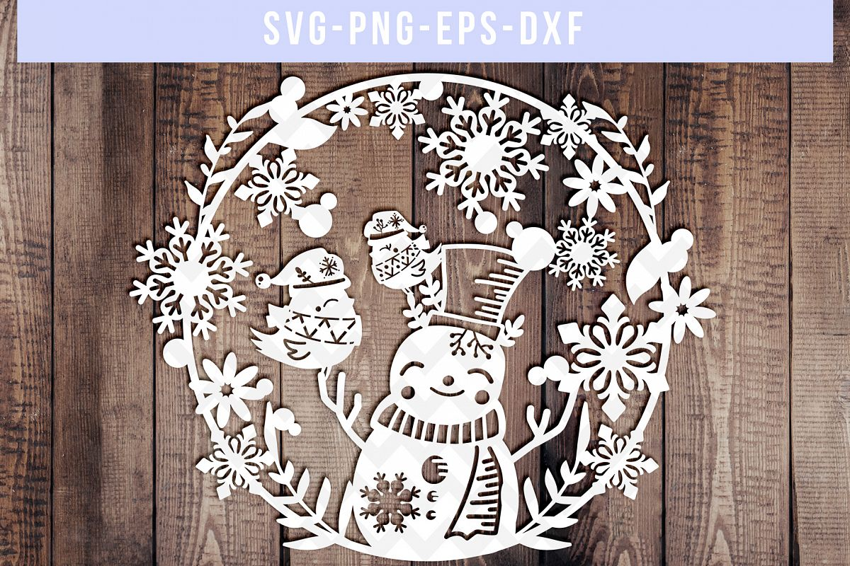 Winter SVG Cut File, Snowflake Papercut, Snowman Laser Cut example image 1