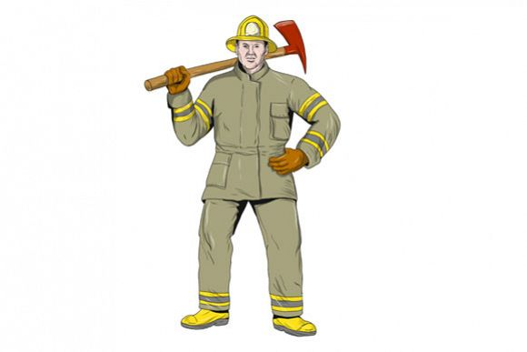 American Firefighter Fire Axe Drawing example image 1