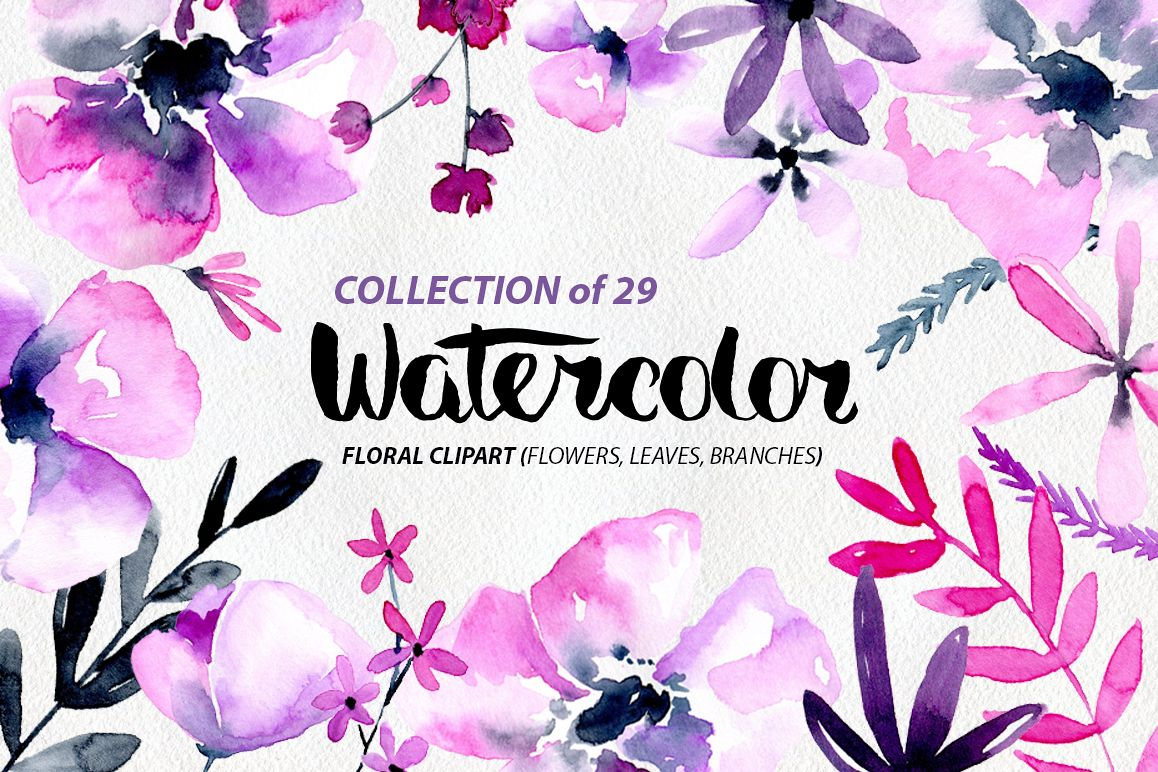 Purple & pink watercolor flowers png example image 1