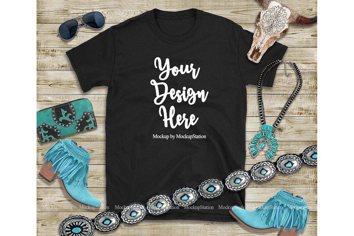 Black T-Shirt Mock Up, Southern Western Gildan Shirt Mockup example image 1