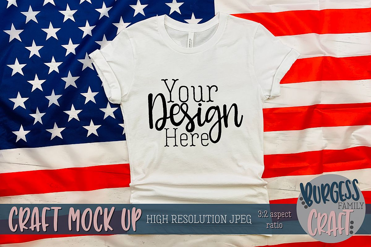 Patriotic USA white shirt Craft mock up | High Res JPG example image 1