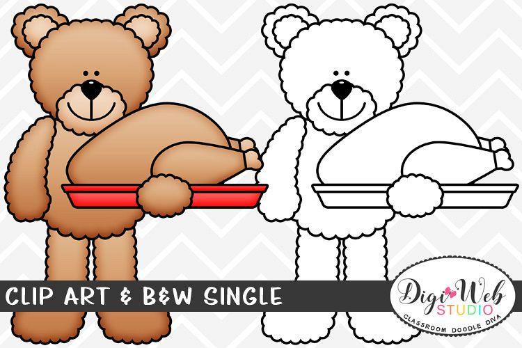 Clip Art & B&W Single - Thanksgiving Bear w/ Turkey example image 1