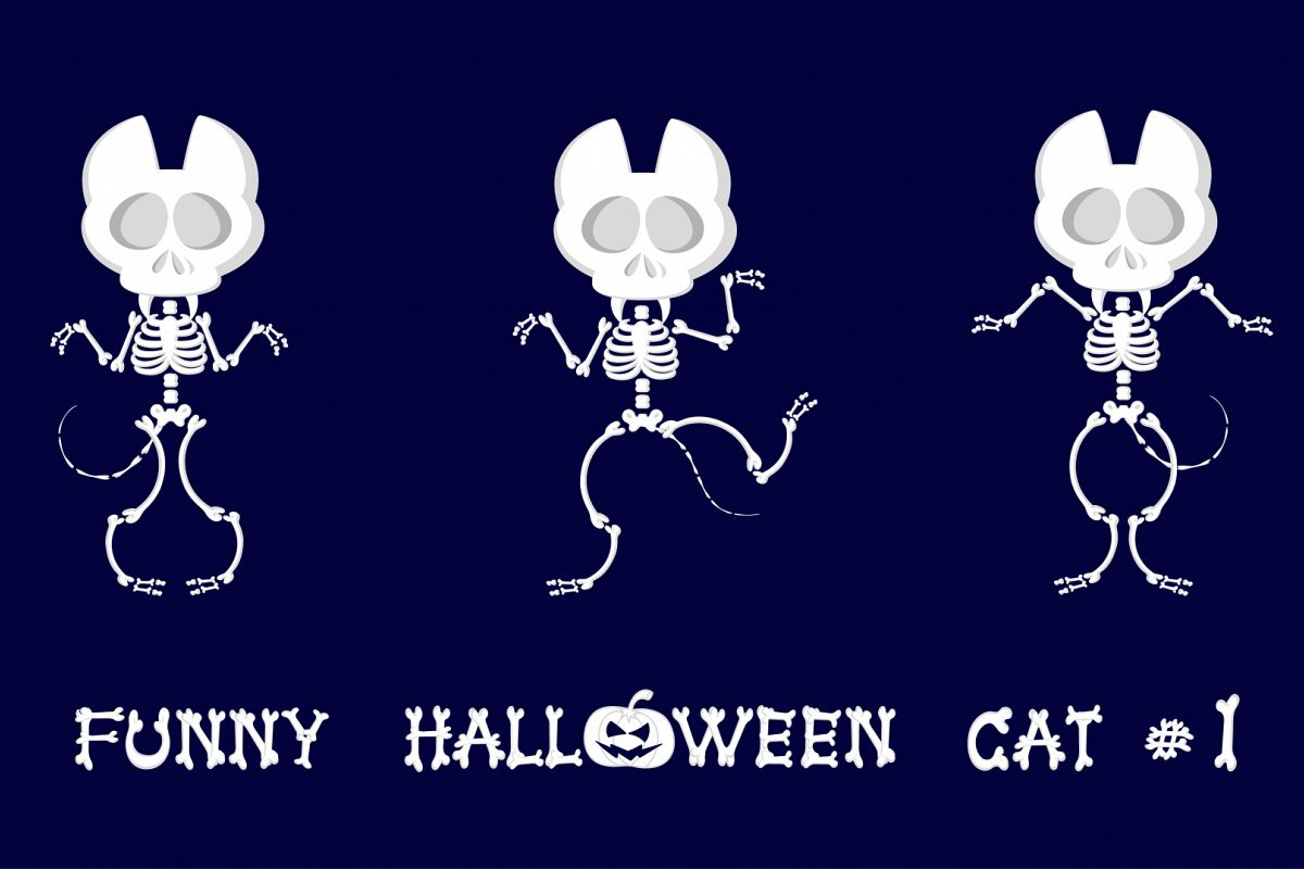 Set of 9 funny skeletons cats - 1 example image 1