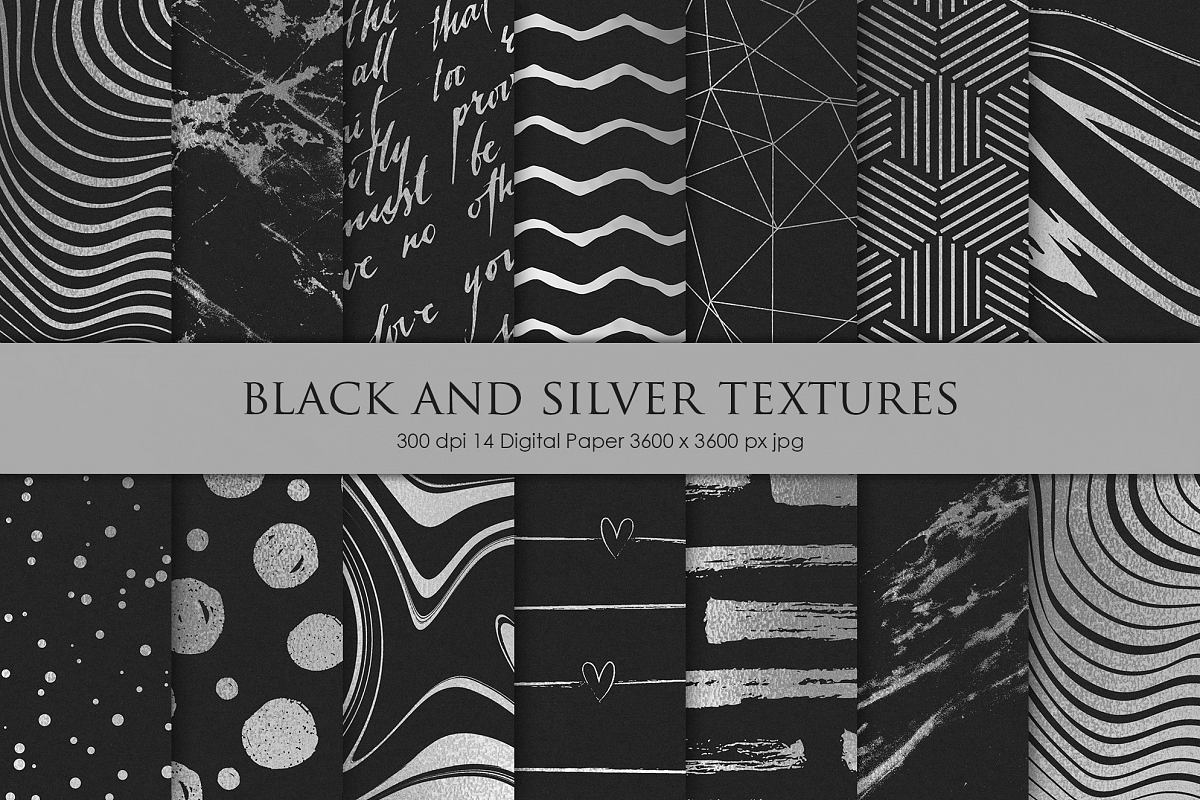 Black and Silver Digital Paper example image 1