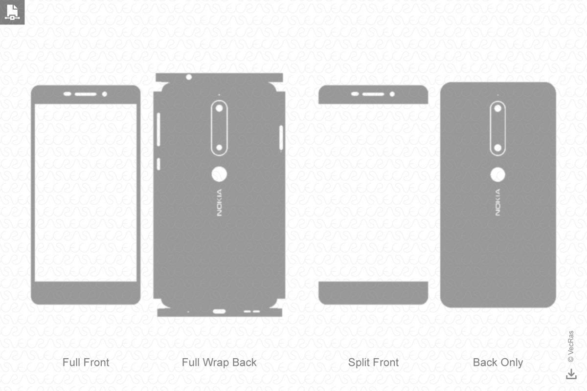 Nokia 6.1 Vinyl Skin Vector Cut File Template 2018 example image 1