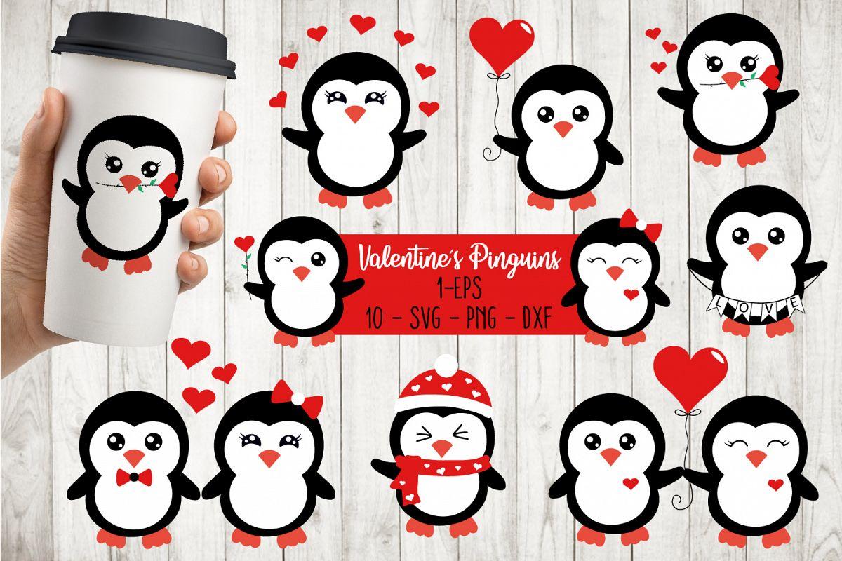 Valentine's Penguins Bundle Svg example image 1