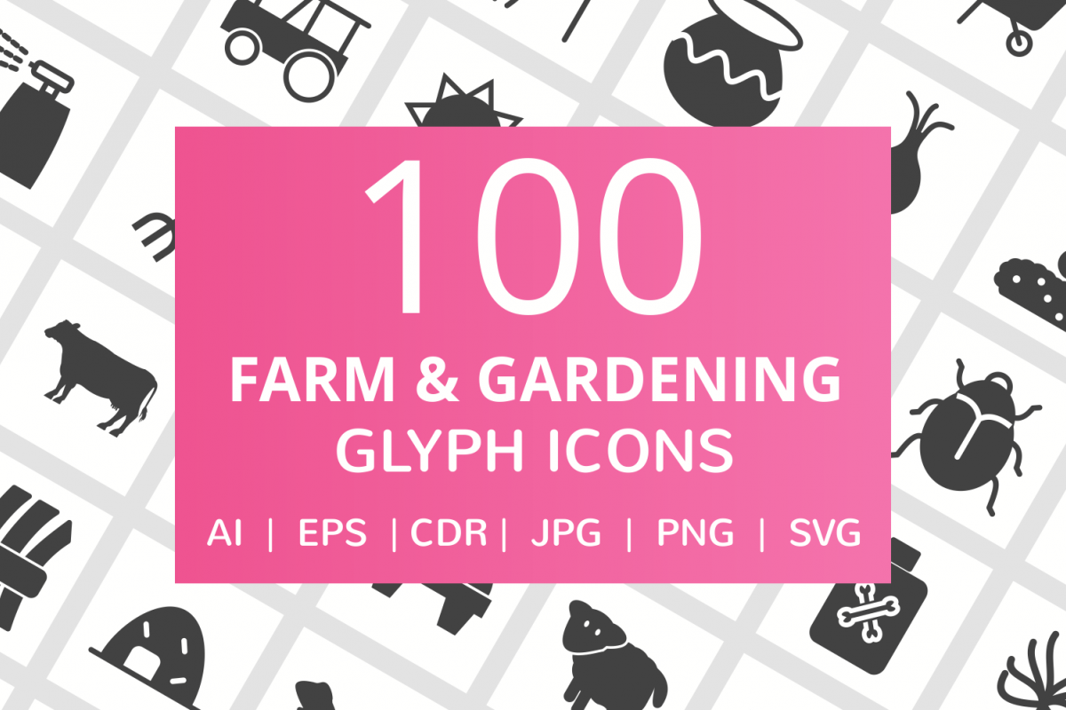 100 Farm & Gardening Glyph Icons example image 1