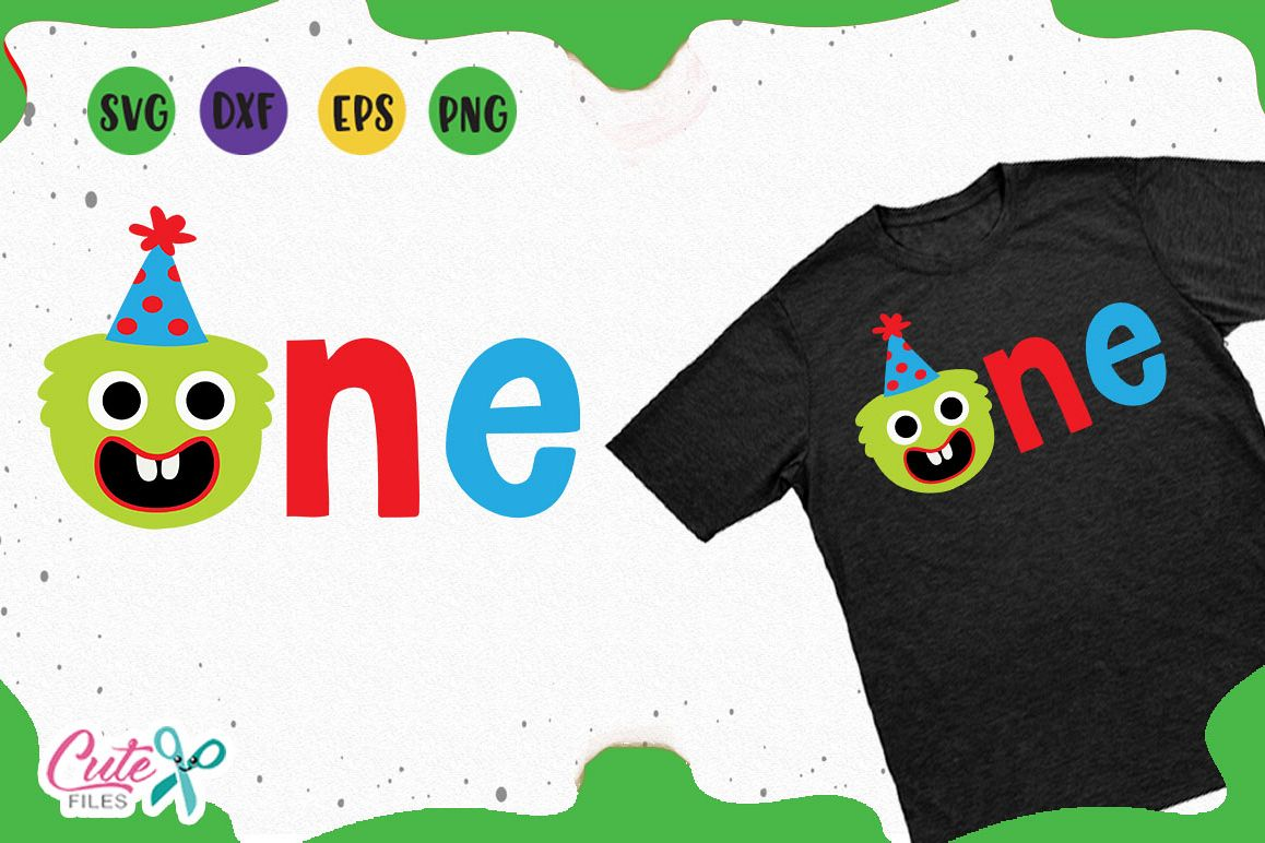 1st Birthday boy, monster party svg for crafters example image 1