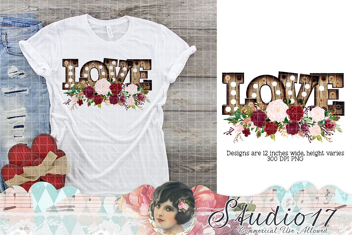 Love Marquee With Roses Valentine Sublimation Design example image 1