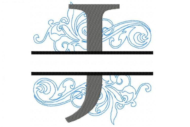 Embroidery Fonts Split Monogram, Monogram J, 4X4 5X7 6x10 example image 1