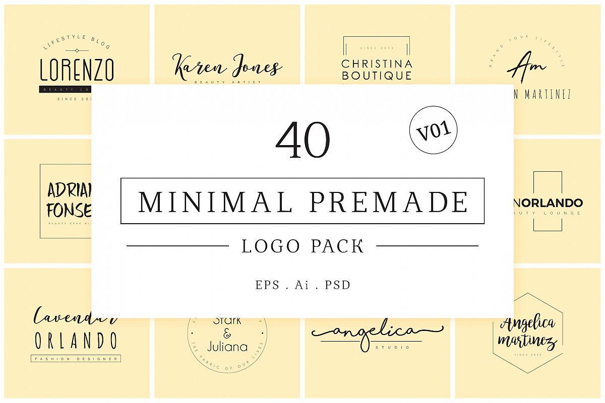 Minimal Premade Logo Bundle V01 example image 1