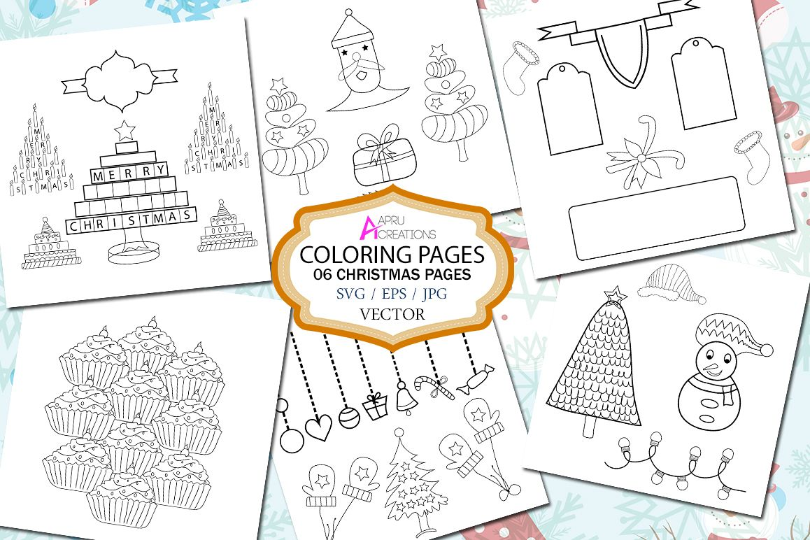 christmas coloring page printable christmas coloring page vector svg eps and jpg christmas set
