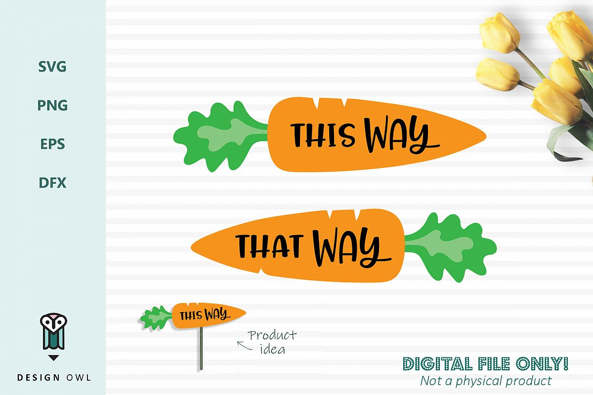 This way That way carrots - Easter SVG cut files example image 1