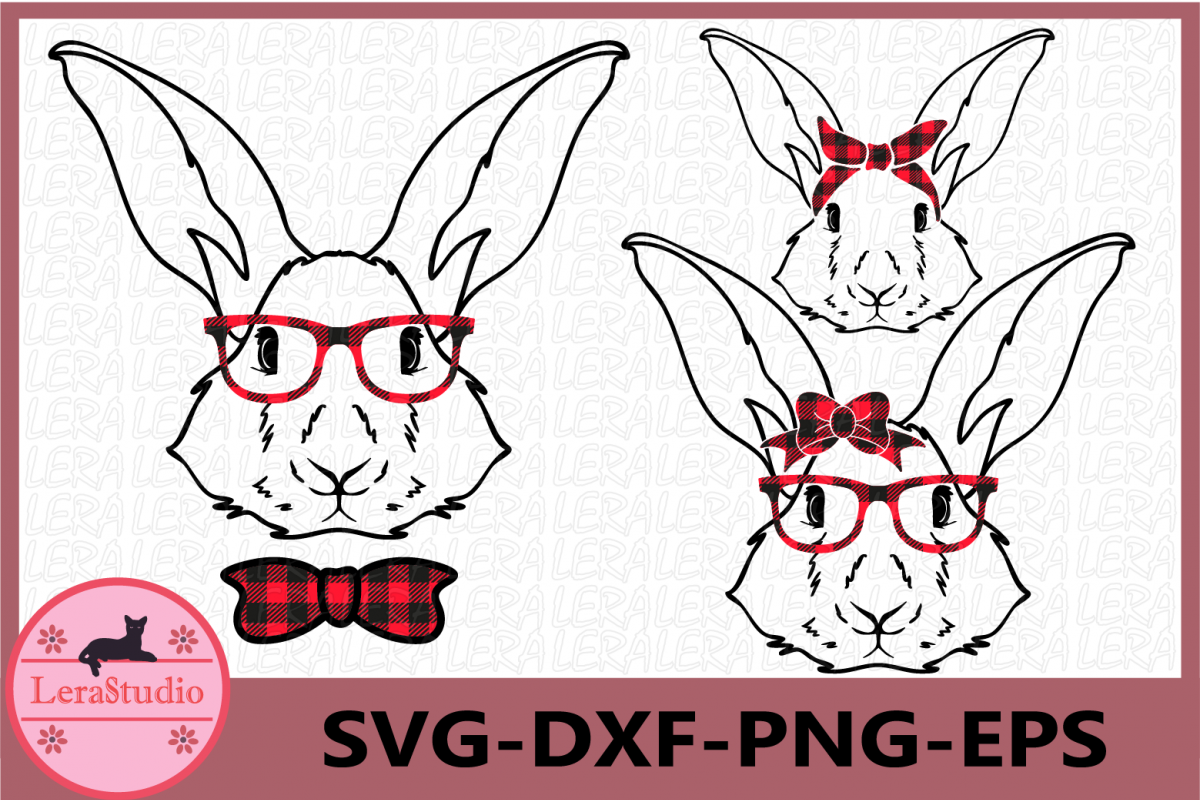 Happy Easter Svg, Buffalo Plaid Svg, Boy Bunny SVG example image 1