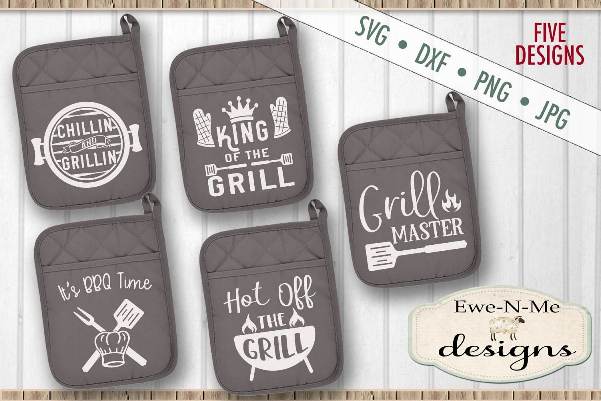 Grilling BBQ Themed Pot Holder Bundle - Fathers Day SVG example image 1
