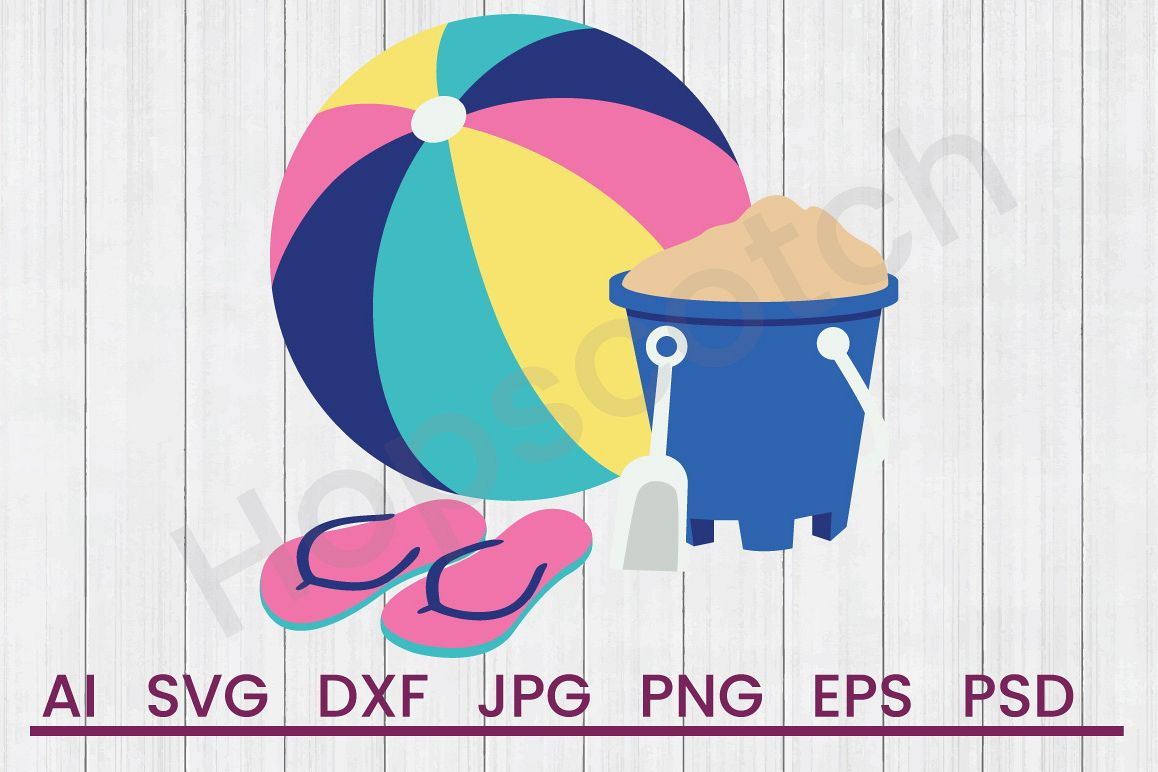 Beach Items SVG, DXF File, Cuttatable File example image 1