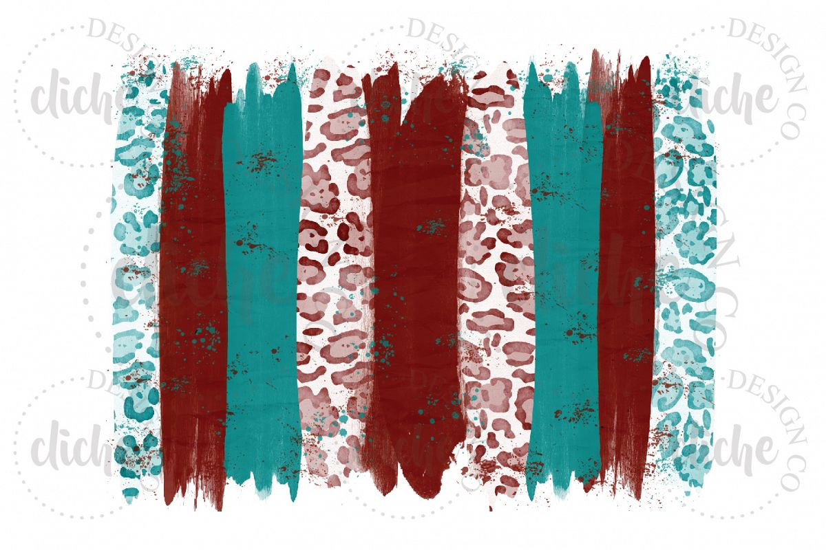 Red Teal Paint Stroke Sublimation Design Background example image 1