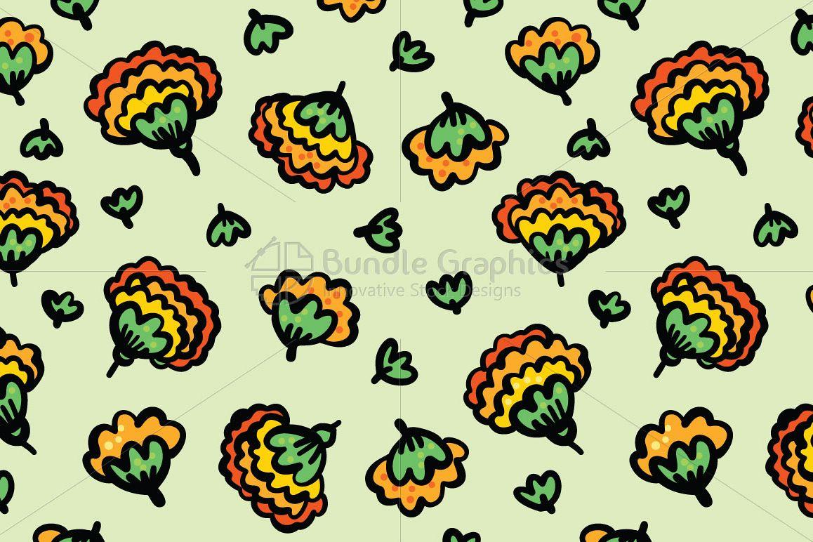 Marigold Flowers - Beautiful Genda Flower Seamless Background example image 1