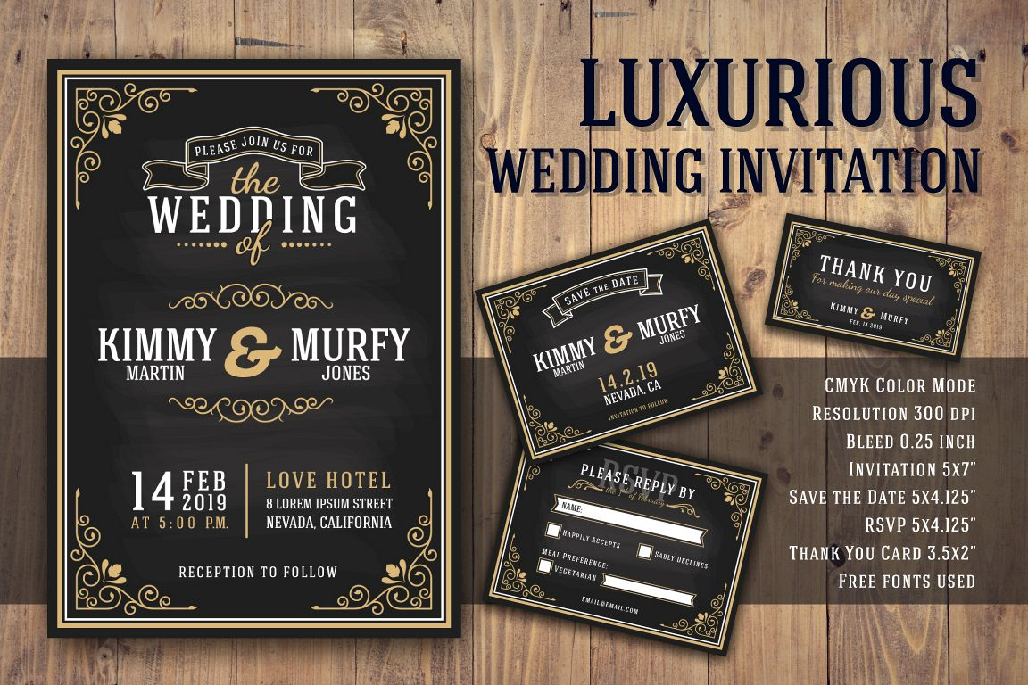 Luxurious Wedding Invitation Card Template example image 1