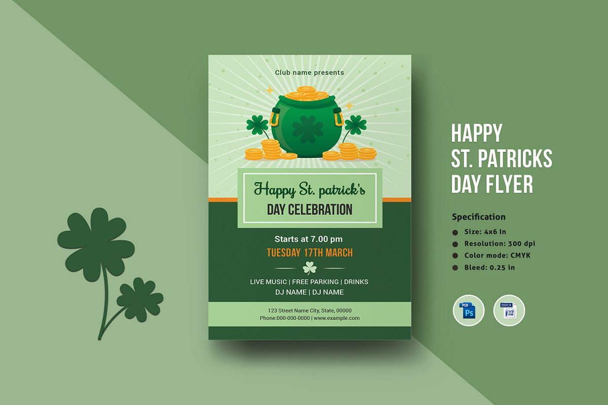 Saint Patricks Day Flyer, Ms Word & Photoshop Template example image 1