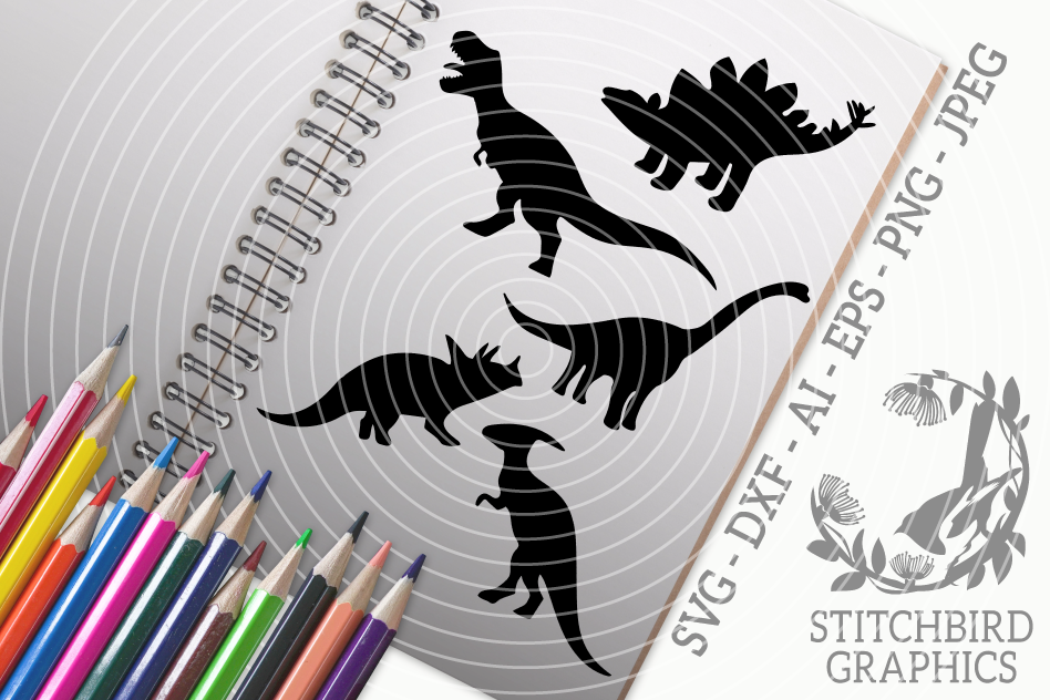 Dinosaurs SVG, Silhouette Studio, Cricut, Eps, Dxf, PNG example image 1