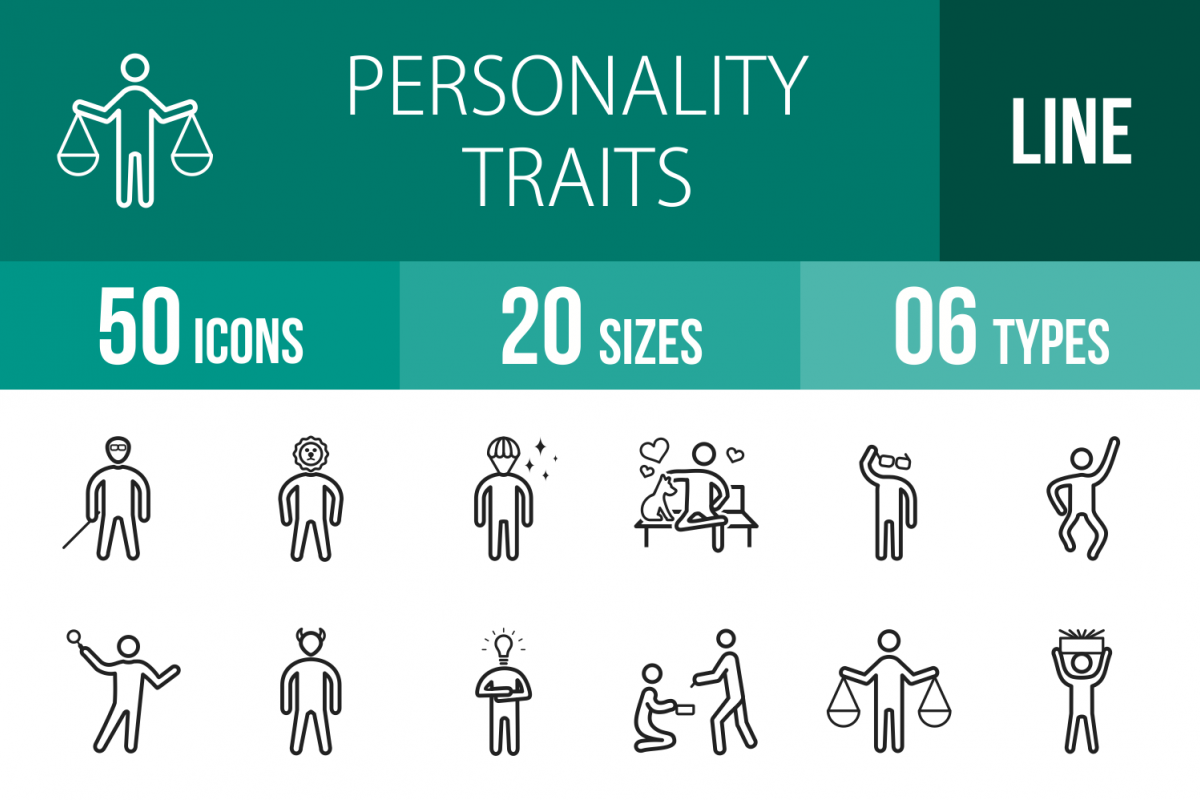 50 Personality Traits Line Icons example image 1