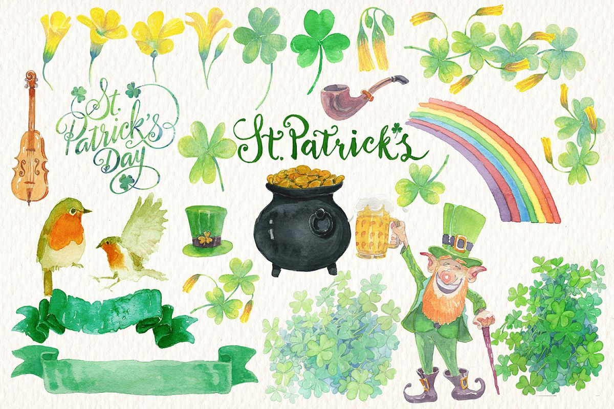 st. Patricks day watercolor clipart example image 1