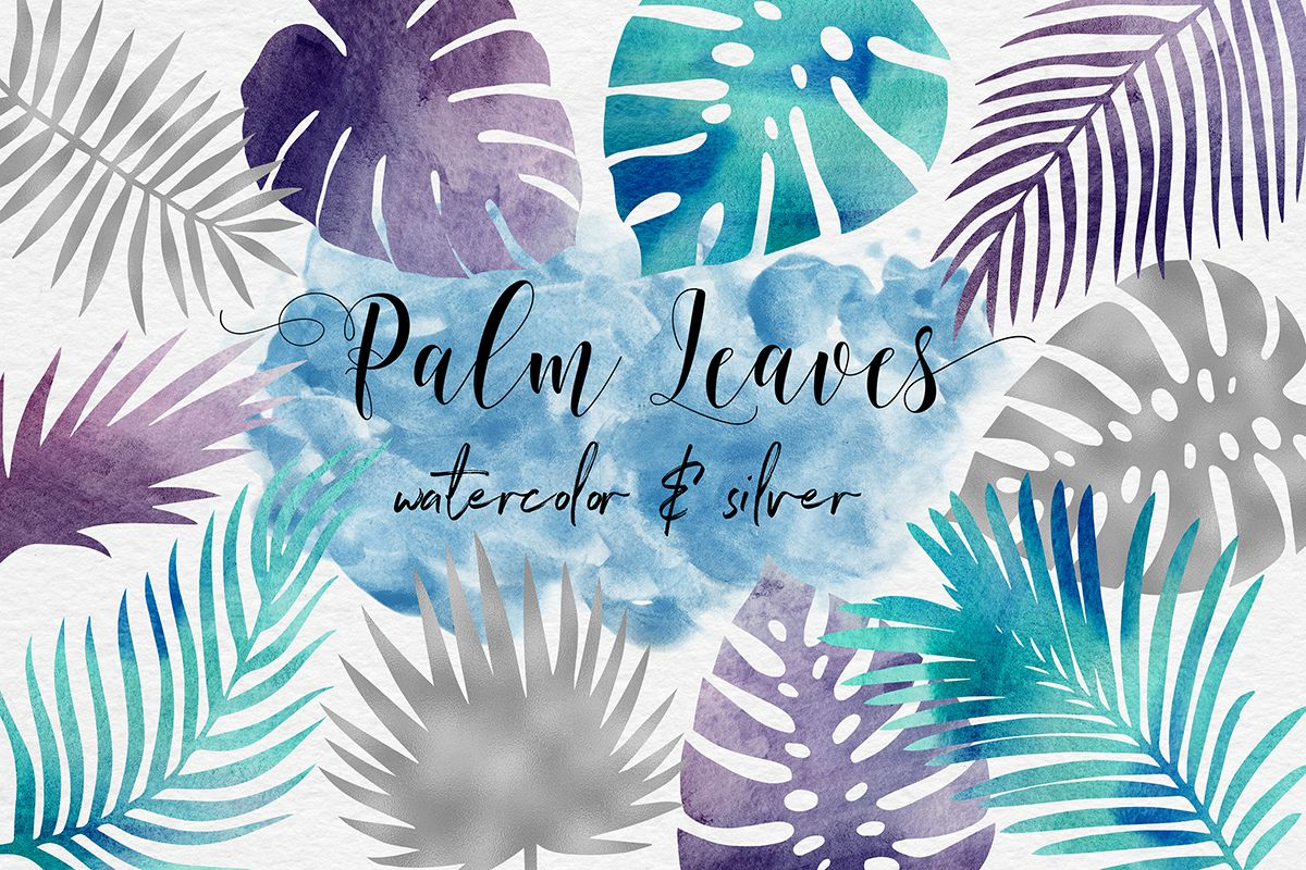 Silver & Watercolor Tropical Leaves example image 1