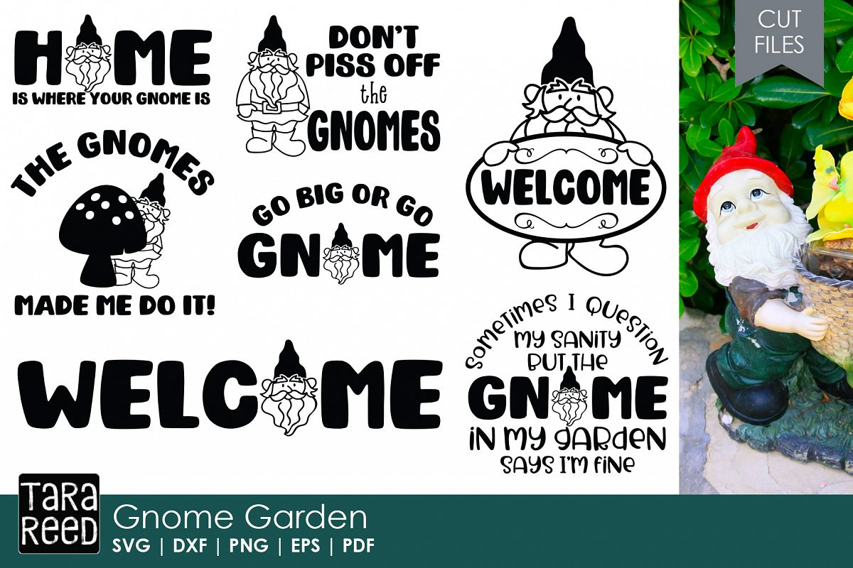 Gnome In Garden: Gnome SVG And Cut Files For Crafters