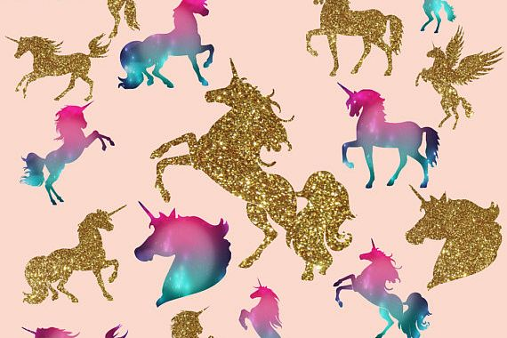 Gold glitter and Galaxy Unicorns Clipart example image 1