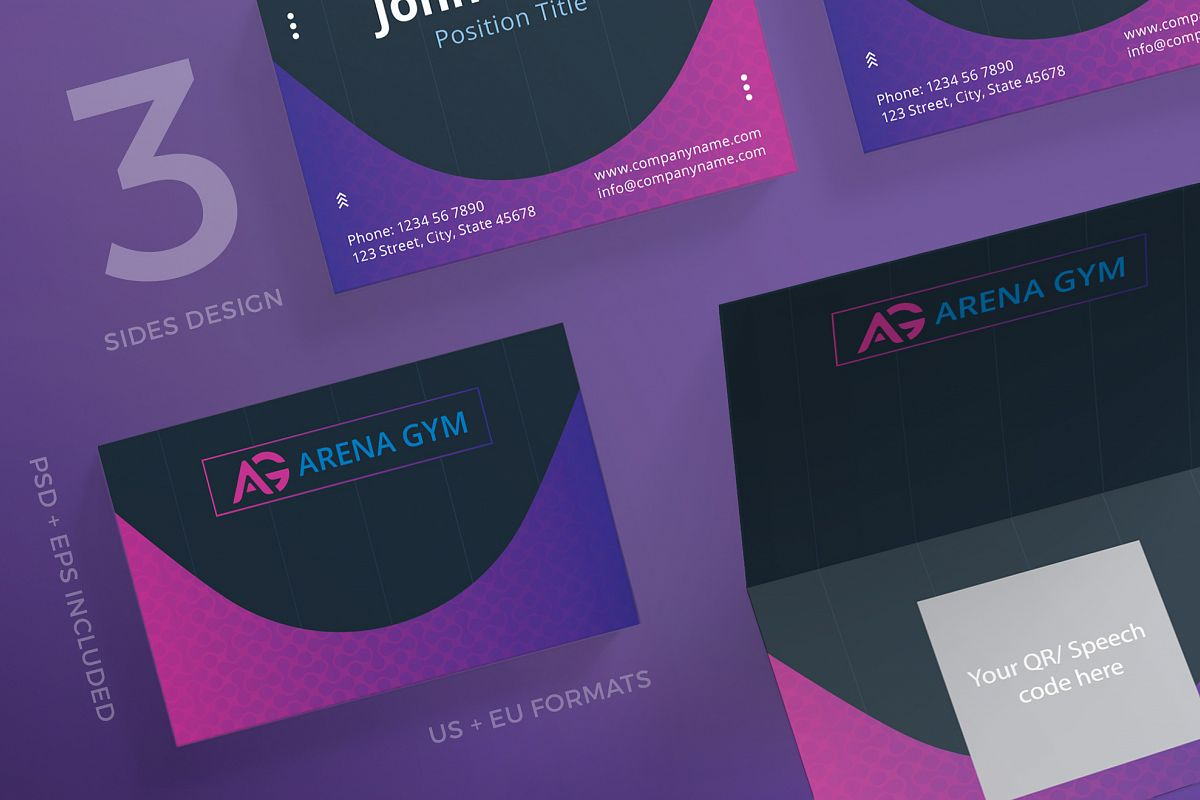 Gym Personal Trainer Business Card Design Templates Kit Example Image 1