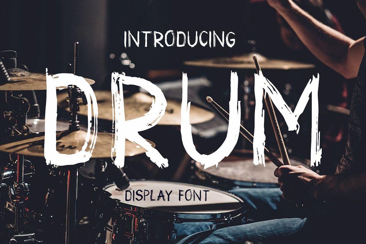Drum. Handmade brush display font  example image 1